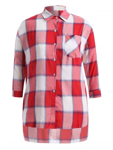 Unique Plus Size Asymmetrical Plaid Shirt