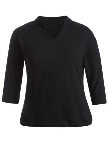 Best Plus Size V-Neck 3/4 Sleeve T-Shirt BLACK 5XL
