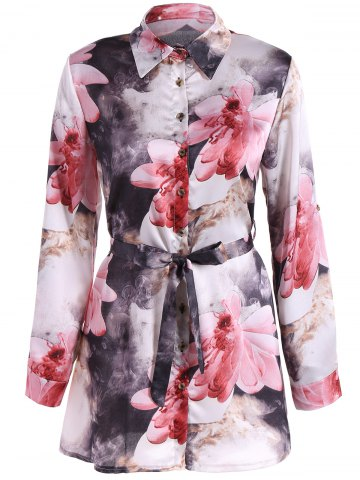 New Floral PrintedBelted Shirt Dress