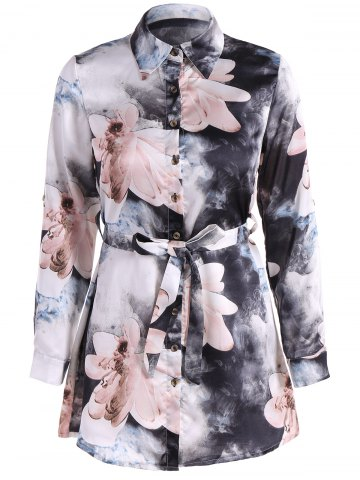 Fashion Floral PrintedBelted Shirt Dress
