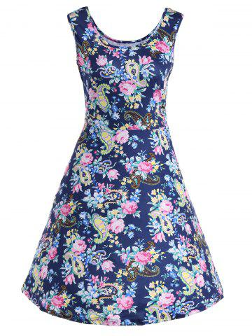 Trendy Floral Sleeveless Fit and Flare Dress