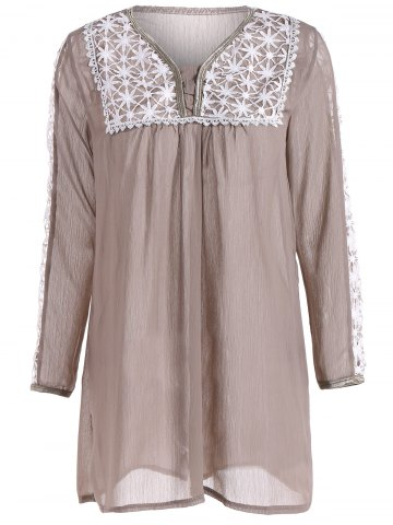 Fancy Peasant Openwork Chiffon Dress
