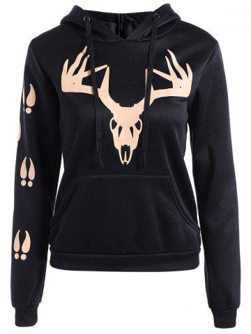 Affordable Fawn Hooded Hoodie BLACK XL