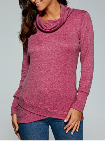 Outfit Cowl Neck Pullover Sweatshirt PURPLISH RED XL