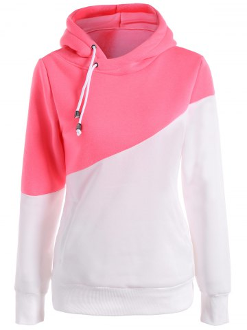 Cheap Long Sleeves Color Block Hoodie - L PINK AND WHITE Mobile