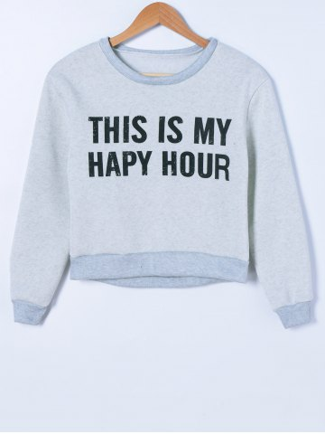 Cheap Graphic Printed Pullover Sweatshirt GRAY S