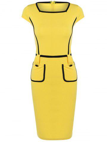 Outfit Cape Sleeve Pocket Spliced Pencil Dress YELLOW 2XL