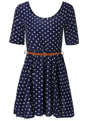 Online Polka Dot Belted Short A-Line Dress