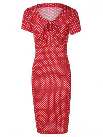 Fashion Retro Polka Dot Bowknot Sheath Dress