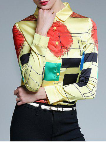 Hot Fitted Color Block Geometric Screen Print Shirt LIGHT YELLOW 2XL