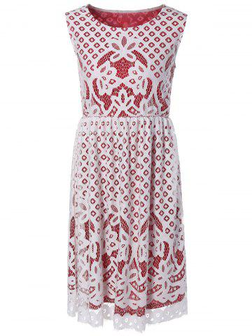 Trendy Flower Embroidered Sleeveless Lace Dress
