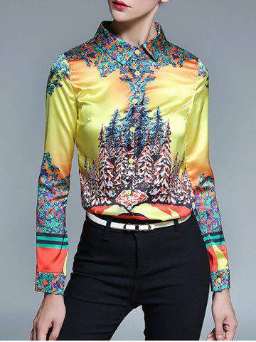 Latest Floral Print Fitted Shirt - S YELLOW Mobile