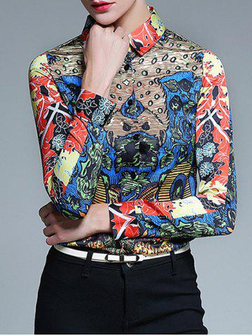 Unique Long Sleeve Fitted Tribal Print Shirt