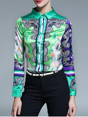 Hot Long Sleeve Fitted Tribal Printed Shirt - L GREEN Mobile