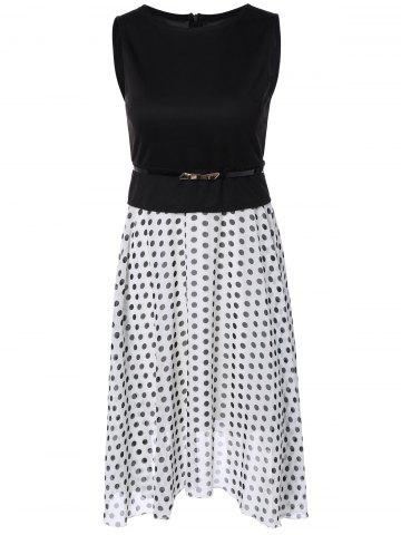 New Polka Dot Color Block Spliced Dress