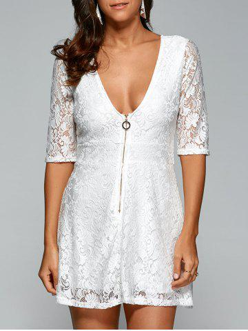 Plunging Neck Zipper Lace Club Dress