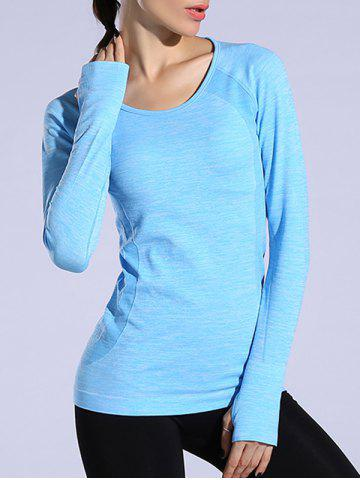Heathered Dry-Quick Long Sleeve Gym Top - Azure - M