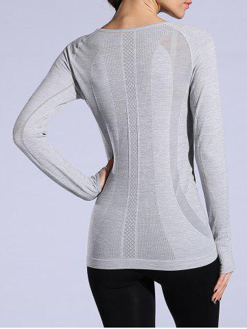 Best Heathered Dry-Quick Long Sleeve Gym Top - L LIGHT GRAY Mobile