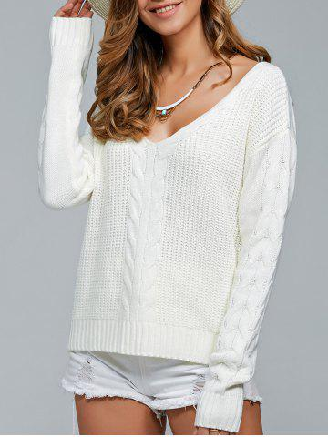 Fancy V-Neck Cable Knit Pullover Sweater