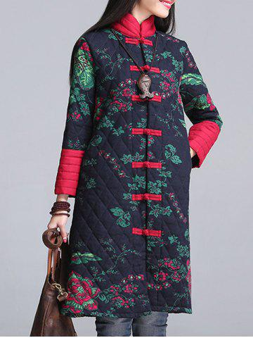 Outfits Floral Print Longline Padded Coat