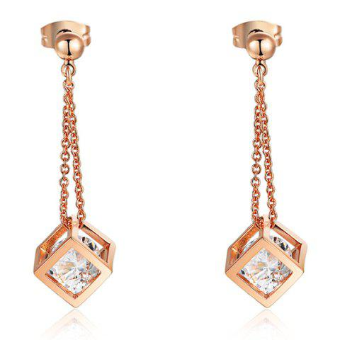 Chic Pair of Rhinestone Square Drop Earrings GOLDEN