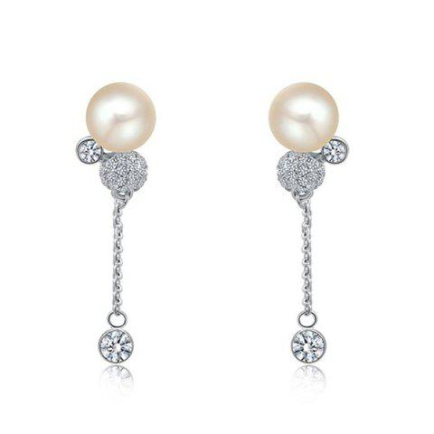 Affordable Pair of Faux Pearl Rhinestone Shiny Earrings SILVER