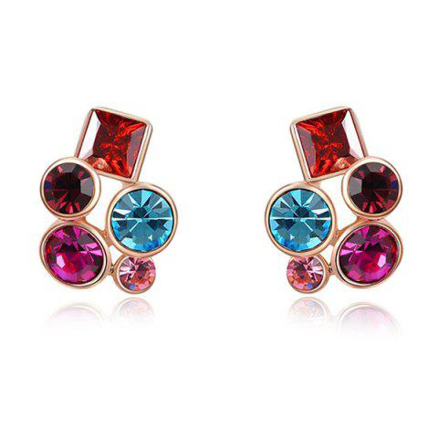 Fashion Pair of Colorful Rhinestone Stud Earrings - ROSE GOLD  Mobile