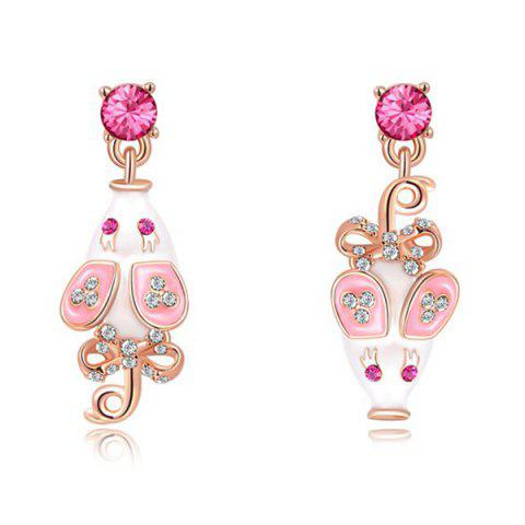 Latest Pair of Rhinestone Mouse Drop Earrings ROSE GOLD