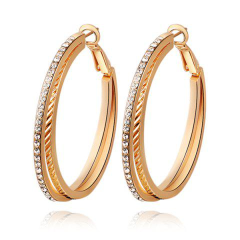 Trendy Pair of Rhinestones Layered Hoop Earrings GOLDEN