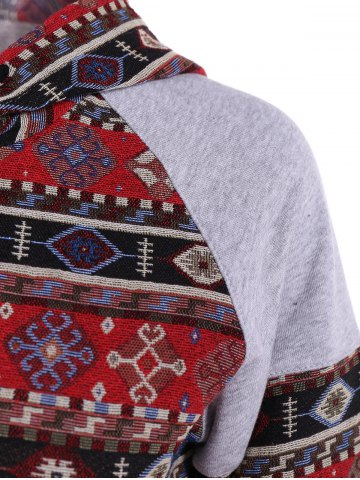 New Front Pocket Pullover Jacquard Hoodie - M COLORMIX Mobile