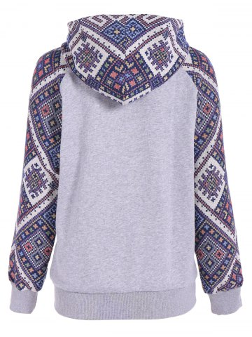 Buy Front Pocket Jacquard Tribal Hoodie - L GRAY AND BLUE Mobile