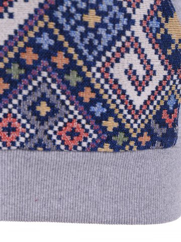 Affordable Front Pocket Jacquard Tribal Hoodie - L GRAY AND BLUE Mobile