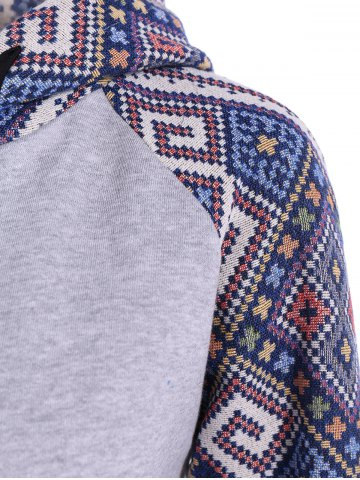 Unique Front Pocket Jacquard Tribal Hoodie - L GRAY AND BLUE Mobile