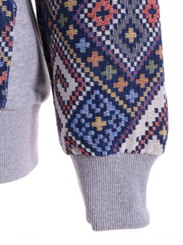 Shops Front Pocket Jacquard Tribal Hoodie - L GRAY AND BLUE Mobile