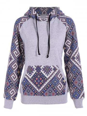 Unique Front Pocket Jacquard Tribal Hoodie - S GRAY AND BLUE Mobile