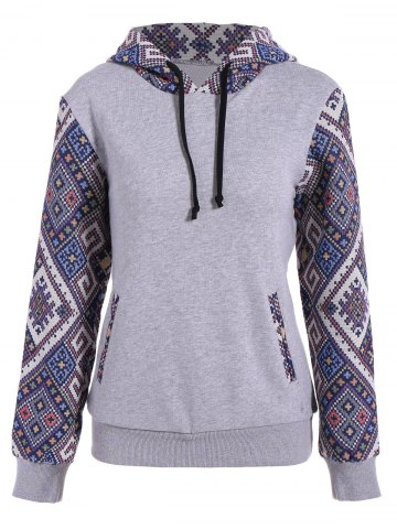 Affordable Front Pocket Jacquard Panel Hoodie - M GRAY Mobile
