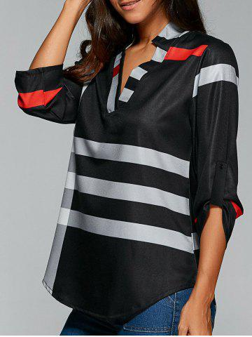 Store V Neck Color Block Tunic Blouse - BLACK M Mobile