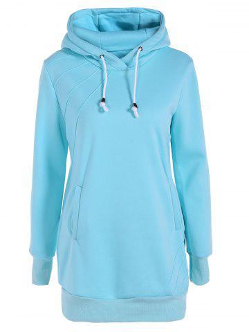 Discount Longline Pullover Hoodie - L LAKE BLUE Mobile