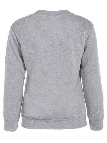 Chic Crew Neck Letter Graphic Sweatshirt - M GRAY Mobile