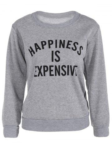 Outfit Crew Neck Letter Graphic Sweatshirt - M GRAY Mobile