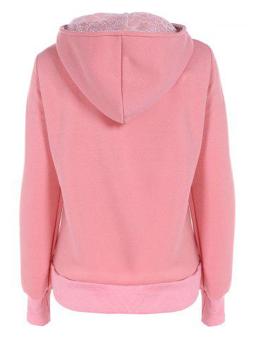 Shop Lace Panel Pullover Hoodie - 2XL PINK Mobile