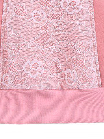 Fashion Lace Panel Pullover Hoodie - 2XL PINK Mobile