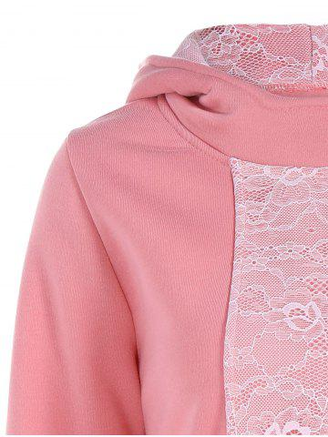 Unique Lace Panel Pullover Hoodie - 2XL PINK Mobile