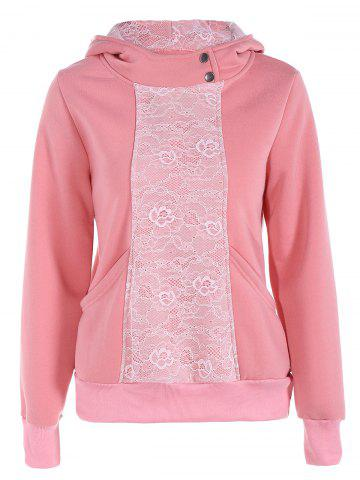 Trendy Lace Panel Pullover Hoodie PINK 2XL