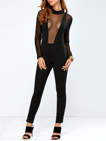 Outfits Sheer Mesh Bodycon Jumpsuit BLACK XL