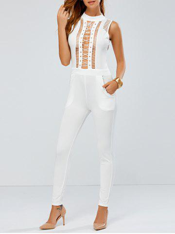 Sale Lace Up Skinny Leg Jumpsuit WHITE XL