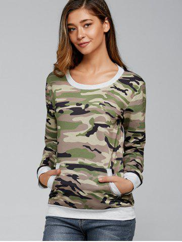 Fancy Long Sleeve Pocket Army Camo T-Shirt - L CAMOUFLAGE Mobile