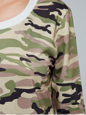 Fashion Long Sleeve Pocket Army Camo T-Shirt - M CAMOUFLAGE Mobile