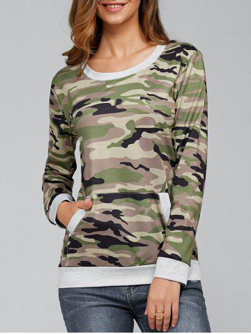 Fancy Long Sleeve Pocket Army Camo T-Shirt - M CAMOUFLAGE Mobile