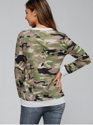 Hot Long Sleeve Pocket Army Camo T-Shirt - M CAMOUFLAGE Mobile